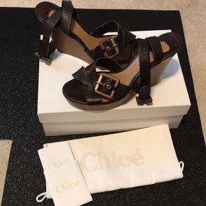 Chloe brown leather wedge